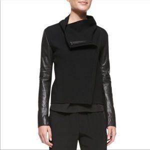 VINCE. Leather and wool biker blazer